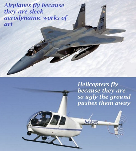 airplanes vs. helicopters